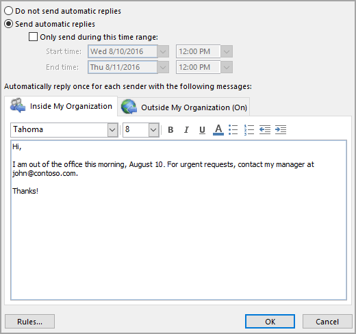 Automatic Reply Vacation Message Penno365 Outlook For