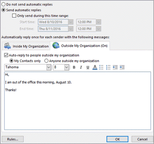 Share Calendar Outside Organization Exchange : Automatic reply vacation message penno outlook for