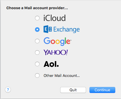 """choose a Mail account provider"""